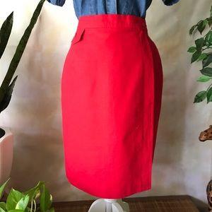 Vintage Linen Red Pencil Skirt